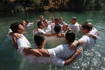 Brazilian Christian Pilgrims Baptised In River Jordan