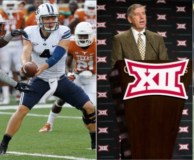 current BYU quarterback Taysom Hill on the left.  Big 12 Commissioner David Boren on the right.