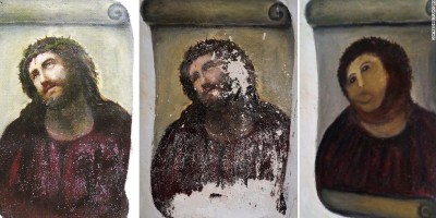 "Botched Jesus Fresco, AFP PHOTO/ CENTRO DE ESTUDIOS BORJANOS"" - NO MARKETING NO ADVERTISING CAMPAIGNS - DISTRIBUTED AS A SERVICE TO CLIENTS =-/AFP/GettyImages"