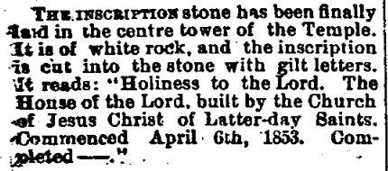 John Moyle - Inscription Stone Salt Lake Herald