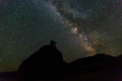 man looking at the Milky Way
