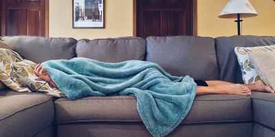 sick person on couch