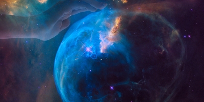 Bubble Nebula, imaged by Hubble Space Telescope, with hand superimposed