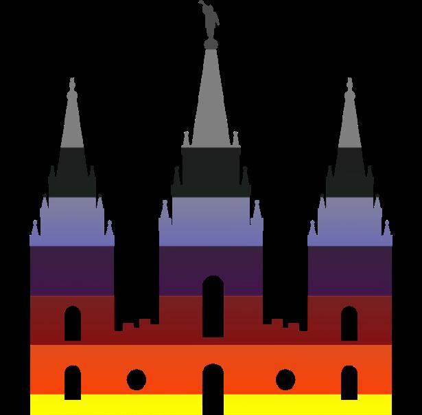 Salt Lake City Temple, dressed in rainbow pride colors