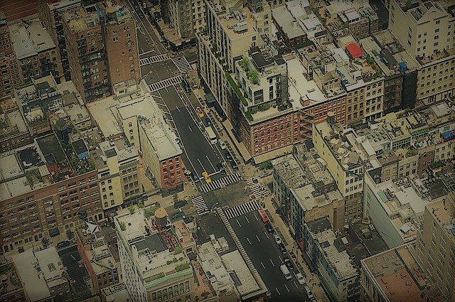 Aerial photo of an urban neighborhood