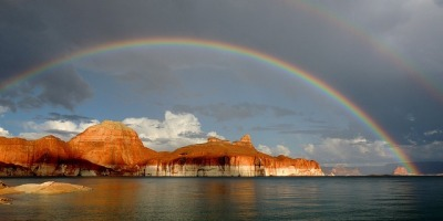 A rainbow over Lake Powell