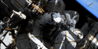 Two NASA astronauts engage in the first all-female spacewalk at the ISS