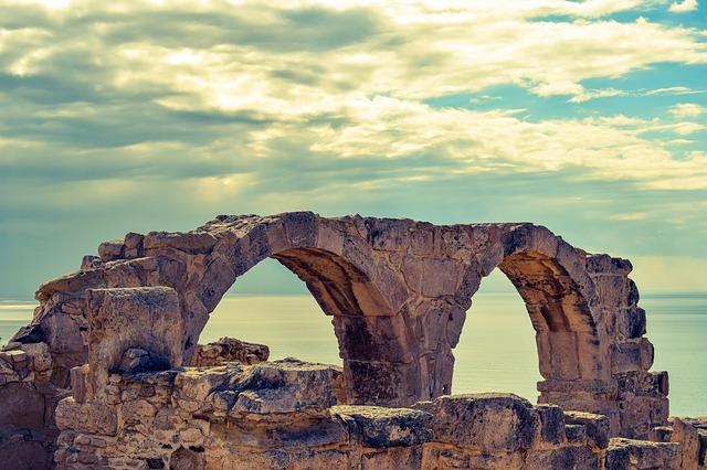 ruins in Cyprus overlooking the Mediterranean Sea