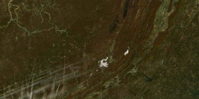 NASA satellite image of the Appalachian Mountains and autumn colors in Kentucky, Virginia, and West Virginia