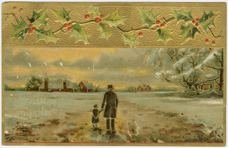 christmas card with man holding child's hand in the countryside
