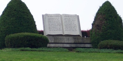 Book of Mormon sculpture at the Hill Cumorah in New York