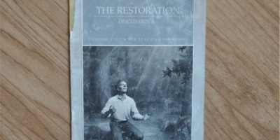 Image of the cover of The Restoration: Discussion 3, a missionary teaching manual for the Church of Jesus Christ of Latter-day Saints