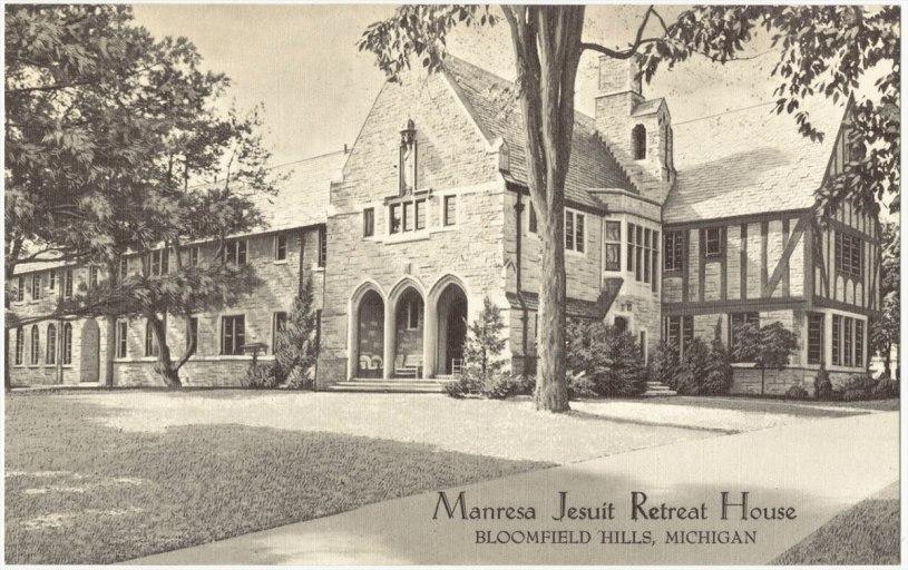 old postcard showing Manresa Jesuit Retreat House
