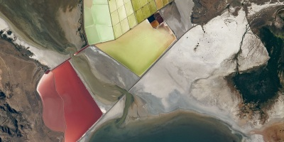 solar evaporation ponds on the Great Salt Lake in Utah, as photographed from the International Space Station